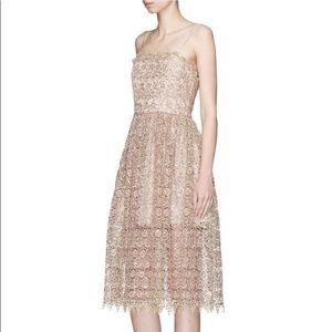 Alice and Olivia Alma Gold Lace Dress Size 2